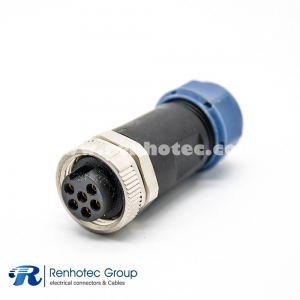 7/8 Female Connector Field Wireable 6Pin for Cable Screw-Joint Non-shield Plastic