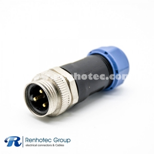 7/8 Round Connector 3Pin Male Field Wireable for Cable Screw-Joint Non-shield Plastic PG13.5