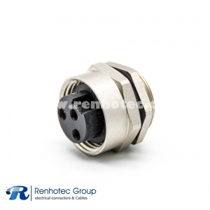 7/8 bulkhead Connector 3Pin Female Panel Receptacle Hex Flange Straight Cable Solder Back Mount
