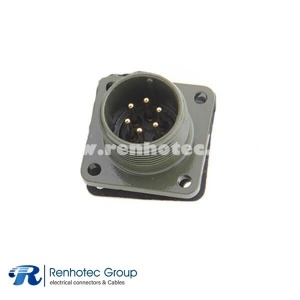 MS3102A14S-6P Straight 6 Pin Male Box Mount Receptacle Flange Aluminum Alloy Solder Thread Connector