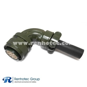 MS3108A18-19S Aluminum Alloy Right Angle Socket 10 Pin Connector with Bushing