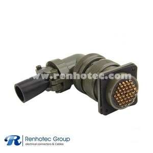 MS3108A28-21S Right Angle Plug 37 Contacts Solder Socket Threaded Circular Connector