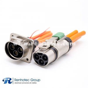 High Voltage Interlock Connector Metal Plug&Socket 3Pin 35A 3.6mm A Key ip67 Shield