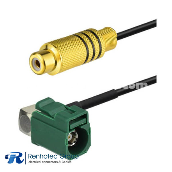 Fakra RCA Cable E Type Angled  FeMALE to RCA Jack Video Adapter Cable Extension 15cm