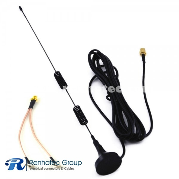 4G LTE Antenna Cable Kits Magnetic Base 3M SMA Male Antenna + SMA Female to Dual TS9 Male Cable RG136 30CM