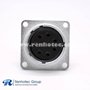 P20 Connector Female Socket 8 Pin Straight Square 4 holes Flange Solder Cup for Cable