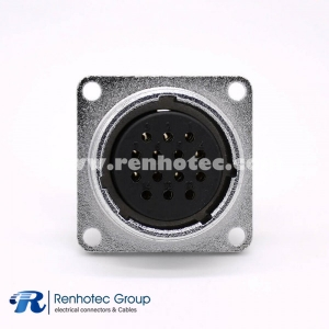 14 Pin Connectors P28 Female Socket Straight Square 4 holes Flange Panel Mount Solder Cup for Cable