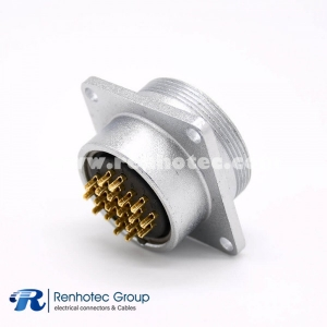 20 Pin Connector P28 Female Socket Straight Square 4 holes Flange Solder Cup for Cable