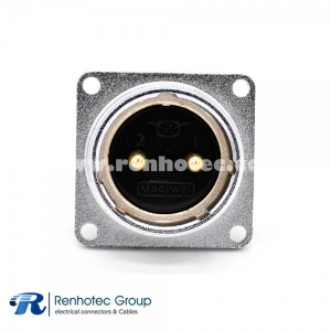 2 Pin Male Socket Connector P28 Straight 4 Holes Flange Sockets Panel Mount