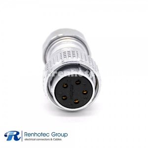 Female Plug Connector P28 Straight 5 Pin Solder Cup for Cable