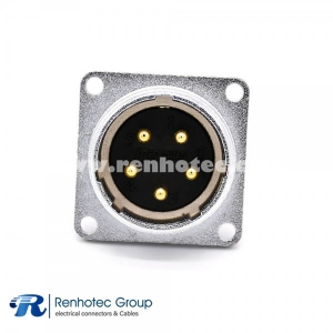 Flange Socket Male P28 Straight 5 Pin 4 Holes Flange Receptacles Solder Cup Panel Mount