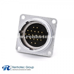 20 Pin Male Socket Connector P28 Straight Squaure Fangle Receptacles 4 Holes Flange Solder Cup