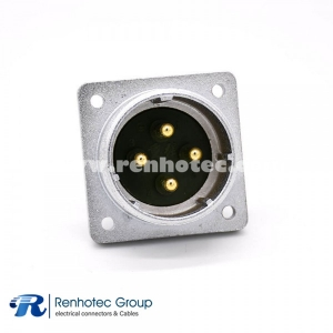 Male electrical Socket P32 4 Pin Straight Solder Cup 4 Holes Flange Receptacles
