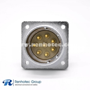 8 Pin Connector P32 Male Straight Socket Square 4 holes Flange Mounting Solder Cup for Cable