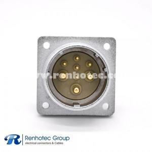 Connector 8 Pin P32 Male Socket Square 4 holes Flange Mounting Solder Cup for Cable Straight