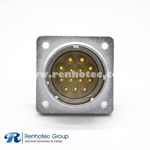 Straight Connector P32 13 Pin Male Socket Square 4 holes Flange Solder Cup for Cable