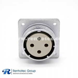 4 Pin Connector P32 Female Socket Square 4 holes Flange Mounting Solder Cup for Cable  Straight