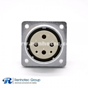Connector 6 Pin P32 Female Socket Square 4 holes Flange Mounting Solder Cup for Cable Straight
