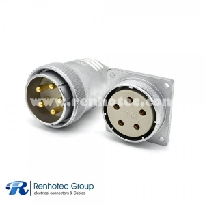 P40 Straight 5 Pin Male Plug&Female Socket for Cable 4 Holes Flange