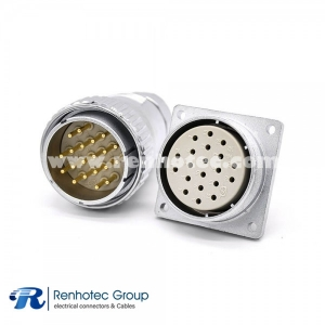 Male Plug&Female Socket  P40 Straight 20 Pin for Cable 4 Holes Flange Panel Mount