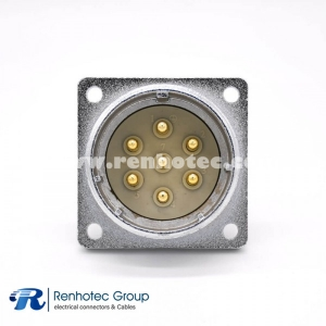 P40 Male 7 Pin Straight Socket Square 4 holes Flange Mounting Solder Cup for Cable