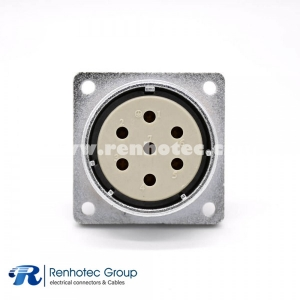 7 Pin Socket P40 Female Straight 4 holes Flange Connector