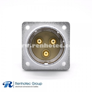 Socket 3 Pin P48 Male Straight 4 Hole  Flange Connector