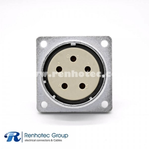 Socket 5 Pin P48  Female Straight 4 Hole  Flange Connector