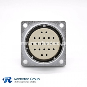 Female Socket P48 20 Pin Straight 4 Hole  Flange Connector
