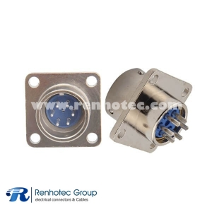 6Pin Circular Connector XS16 Male Socket 4 Hole Flange Aviation Connector