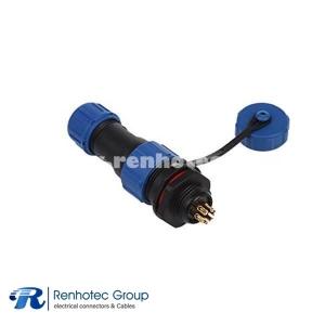 SP13 5 Pin IP68 Circular Male Female Plug Socket Rear-nut Mount Straight