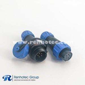 Waterproof Reverse Type SP13 Series 5 pin in line Female Plug&Male Receptacles straight With Waterproof Cover