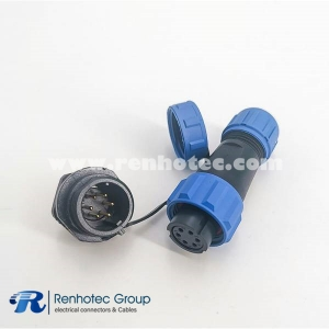 SP13 IP68 6 pin Female Plug & Male Socket Automatic Connector Rear-nut Mount