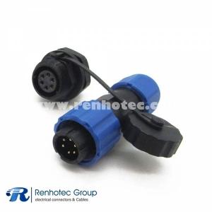 SP13 Waterproof 6 pin Male Plug & Female Socket back mount panel mount
