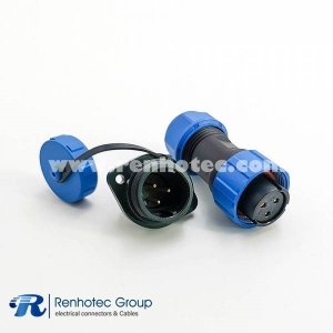Waterproof SP17 Series 3pin Female Plug & Male Socket 2 Hole Flange Panel Mount
