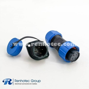 Waterproof solder Connectors SP17 Series 4pin Female Plug&Male Receptacles 2 Hole Flange