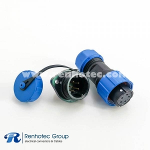 Waterproof electrical SP17 Series 5 pin Female Plug&Male Receptacles 2 Hole Flange Panel Mount