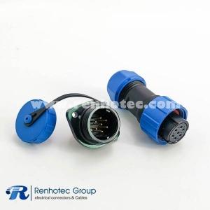 Waterproof Plug Socket SP17 Series 7pin Female Plug & Male Socket 2 Hole Flange Panel Mount