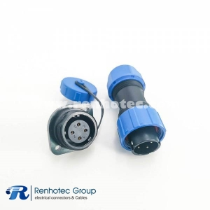 SP17 Series 4pin Male Plug & Female Socket 2 Hole Flange Panel Mount Waterproof Dustproof