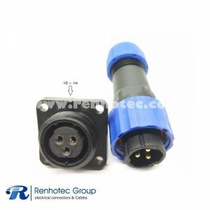 SP17 Series 3pin Male Plug & Female Socket 4 Hole Flange panel mount