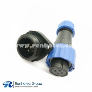 IP68 Connector SP17 Female Plug & Male Socket 2 Hole Flange panel mount SP17 4pin Connector