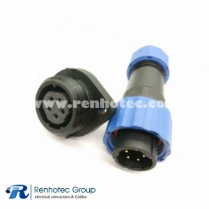 IP68 Connectors SP17 5 pin Male Plug & Female Socket 2 Hole Flange panel mount