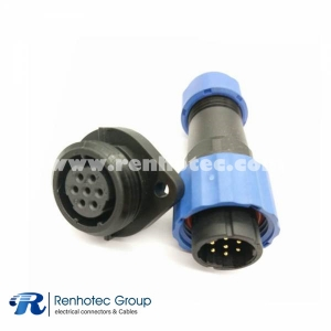 Weipu IP68 Connector SP17 7pin Male Plug & Female Socket 2 Hole Flange panel mount