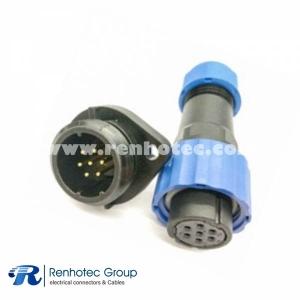 Aviation IP68 SP17 Female Plug & Male Socket 2 Hole Flange panel mount SP17 7pin Connector