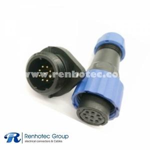 Waterproof Connetor SP17 Female Plug & Male Socket 2 Hole Flange panel mount SP17 9 pin Connector
