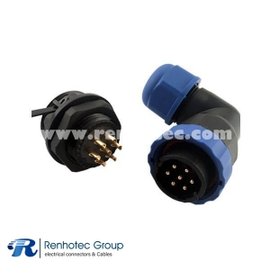 7pin Circular Connector Plug Socket Rear-nut Mount Wire Connector for Lights Angled