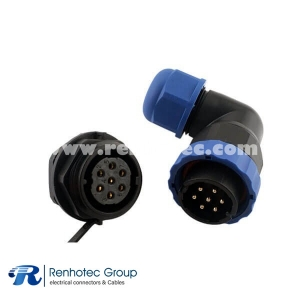 10 Pin Connectors IP68 SP21 Right Angle Male Plug&Female Receptacles Back Mount