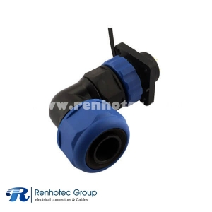 4 Hole Flange Aviation Connector IP68 SP21 14pin Right Angle Cable Plug & Panel Receptacles