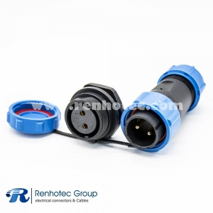 2pin Waterproof Connector Cable SP21 Straight Male Plug Female Socket Rear-nut Mount