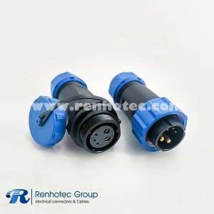 Waterproof Connetor SP21 Series 5 Pin Circular Male Plug & Female Socket In-Line Type